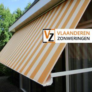 Afbeelding: Uitvalscherm oranje/wit gestreept zonwering